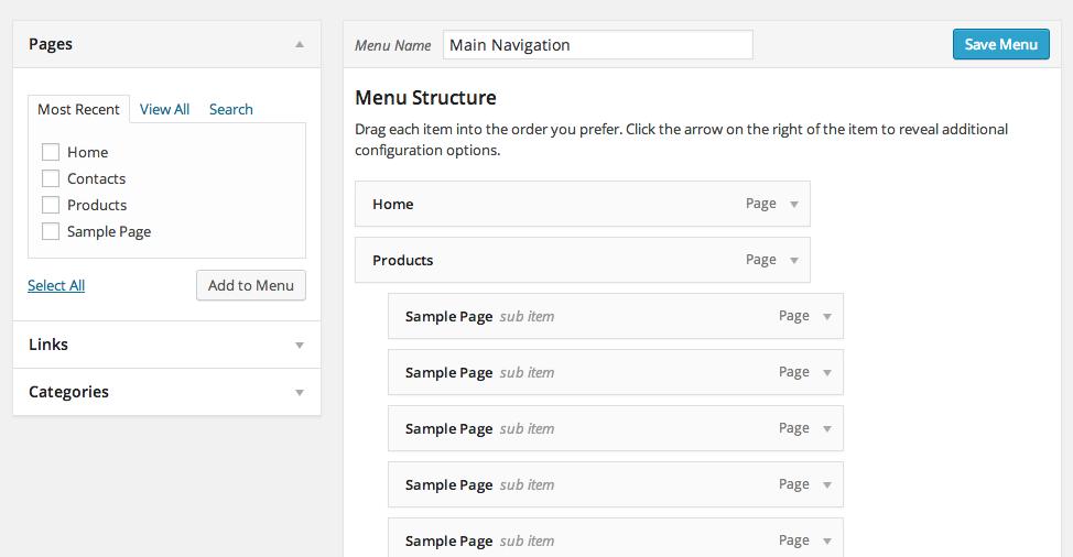 WordPress Admin Area - Appearance - Menus