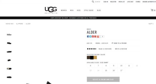 ugg product listing