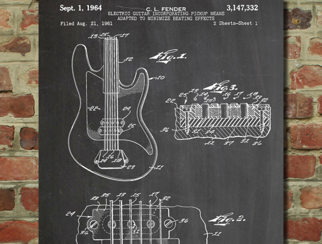 fender guitar pickups patent wall art