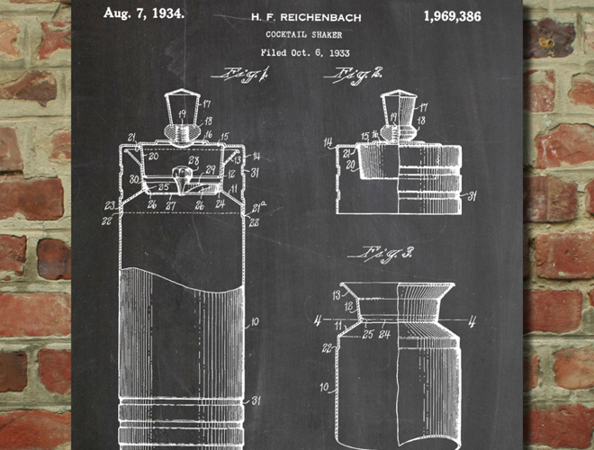 cocktail shaker 1934 patent art