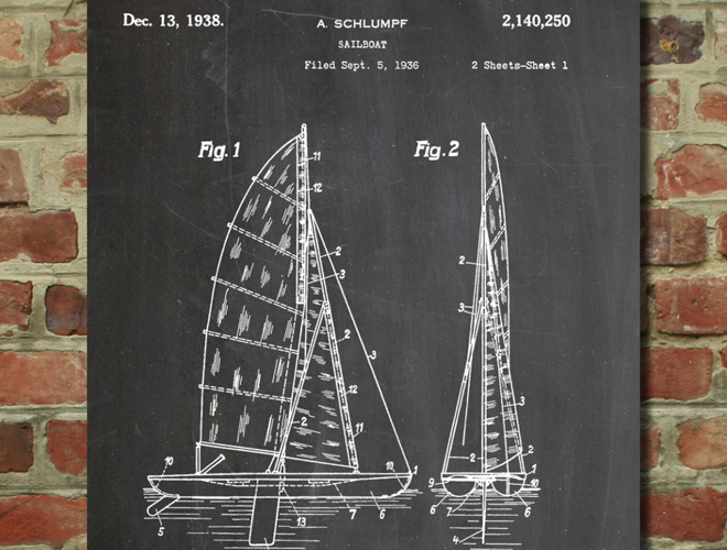 sailboat art patent artwork poster