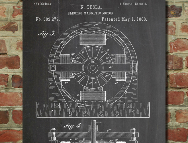 tesla electric car motor patent