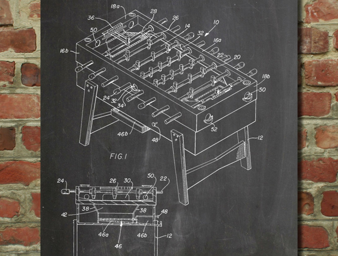 foosball game table patent artwork poster