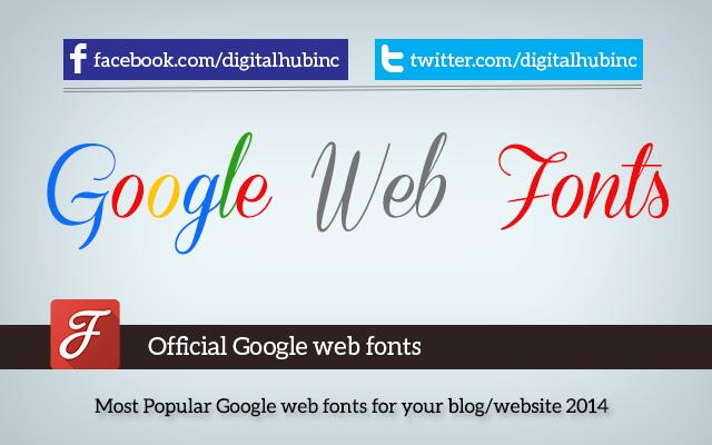 Most Popular Google web fonts for your blog/website 2014