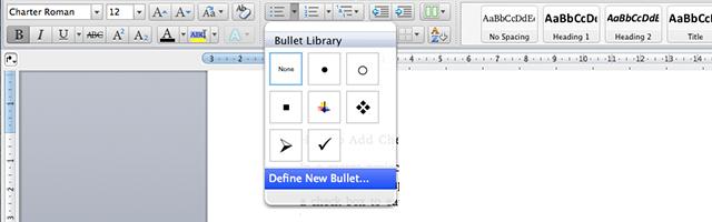 Wordcheckbox-definebullets