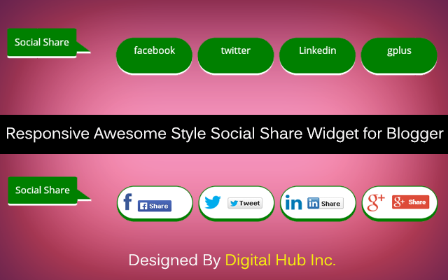 Responsive Awesome Style Social Share widget for Blogger