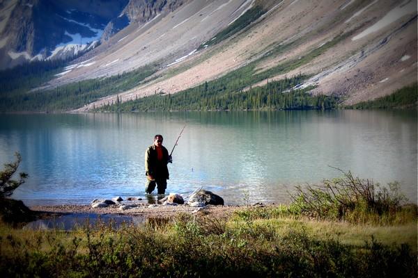 Fisherman, Bow Lake, Canadian Rockies, Alberta