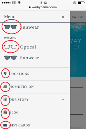 warby parker mobile menu