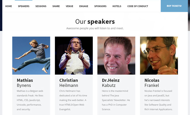 devit conference website layout design