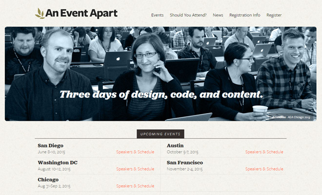 event apart website homepage design