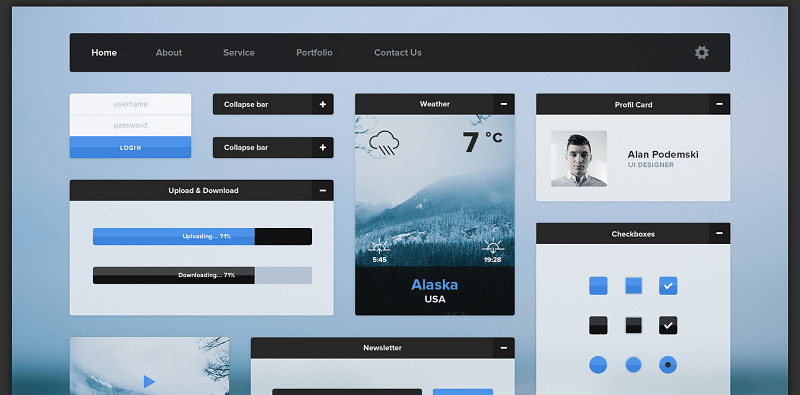 This UI kit has a fantastic winter theme