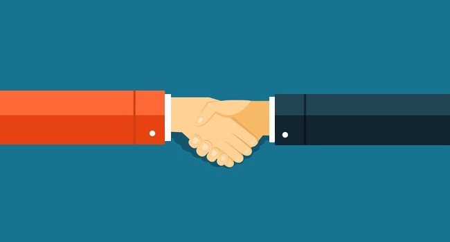 Handshake vector illustration for reports and presentations