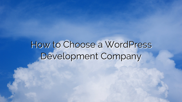 How to Choose a WordPress Development Company