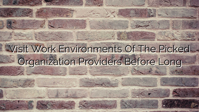 Visit Work Environments Of The Picked Organization Providers Before Long